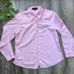 Nina McLemore Pink Button-Up Dress Shirt 100%Cottn